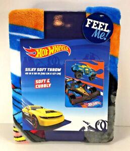 "NEW Mattel HOT WHEELS Silky Soft THROW BLANKET 40"" x 50"" Race Car Monster Truck"