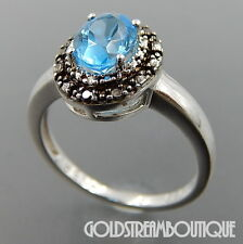 RENAISSANCE JEWELRY 925 SILVER BLACK & WHITE DIAMOND OVAL BLUE TOPAZ RING #06483