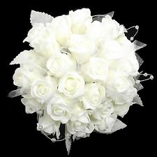 White wedding/bridesmaid bouquet 30 roses with organza glitter and pearl loops