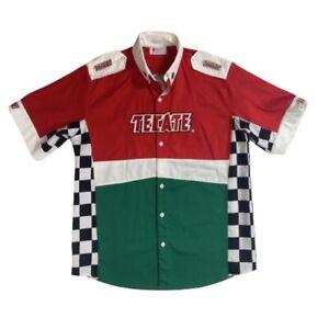 Tecate Fernandez Racing Pit Crew Indy Car Jersey Button XL Shirt Embroidered EUC