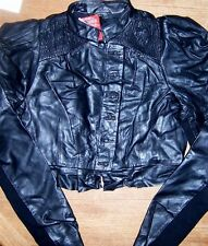 Biker Jacket Black ASOS Faux Leather Motorcycle Zip Misses size 10 New