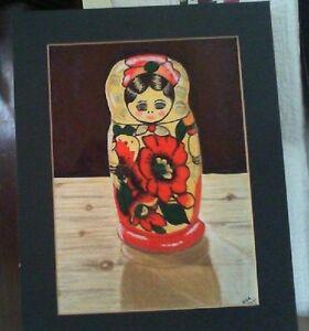 Russian Doll An original mixed media artwork in a dark green mount