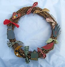"15"" Country Primitive Christmas Wreath Americana Cat Patriotic Summer Home Decor"