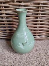 More details for vintage korean celadon crane decorative signed crackle glaze bud vase