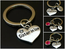 Sister in Law Keychain Initial Letter Birthstone Silver Charm Personalized Gift