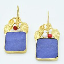 Aylas Red coral Pearl earrings - Gold plated semi-precious gemstone - Handmade i