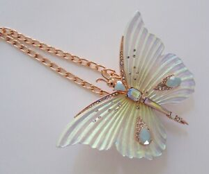NEW Betsey Johnson White Butterfly Iridescent Statement Necklace