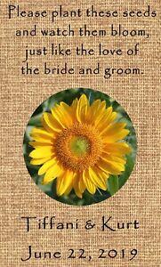Wedding Wildflower Seed Packets Burlap Sunflower Design Set of 100