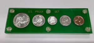 1955 United States Mint 5 Coin Proof Set in Green Acrylic Holder 90% Silver (B)