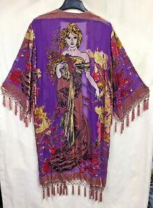 Vintage Jinjiao Women's Size M Beaded Fringed Sheer Kimono Alphonse Mucha