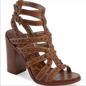 Sam Edelman Keith Croc Embossed Footbed Brown Studded Strappy Sandals Size 8