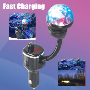 Car Charger Lamp Fast Charging USB Port Bluetooth Phone Player ABS W/Roof Light