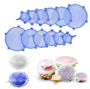 Silicone Stretch Lids Reusable Wrap Bowl Seal Cover Storage microwave Kitchen 12
