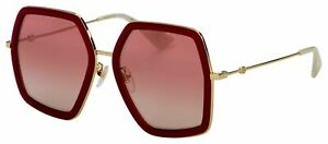 GUCCI Oversize Geometric Red Gold SUNGLASSES GG0106S 010 w/Case -JAPAN-Authentic