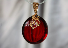 BIG CHERRY BALTIC AMBER PENDANT 925 STERLING SILVER PLATED GOLD