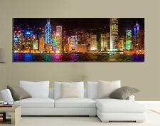 QUADRI MODERNI TELA 150X50 PAESAGGIO NEW YORK MANHATTAN SKYLINE AMERICA ARTE