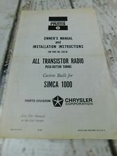 Chrysler Simica 1000 Transister Radio Owners Manual Installation Instructions