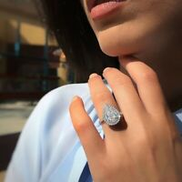925 Silver Pear Cut Women Fashion Jewelry White Topaz Wedding Proposal Ring 6-10