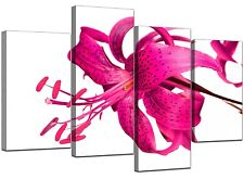 Large White Floral Flower Pink Lily Canvas Art 130cm XL Pictures 4053