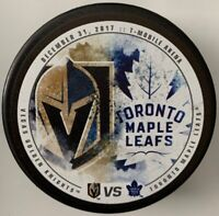 12/31/2017 VEGAS GOLDEN KNIGHTS VS TORONTO MAPLE LEAFS NHL OFFICIAL HOCKEY PUCK