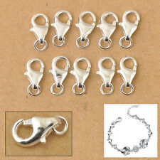50pcs Sterling Silver Lobster Clasps Jewelry Findings with Jump Ring Fit Charms