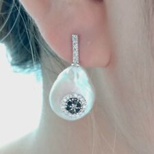 14MM White Coin Earrings Cz Pave Stud