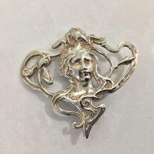 Sterling Silver 925 Art Nouveau Brooch #604
