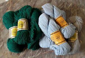 DDR Wolle ALWO - 8x 50g in hellblau, grün und grau