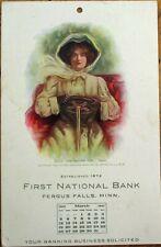Fergus Falls, MN 1911 Advertising Postcard  Calendar w/Motor Car Driving Woman