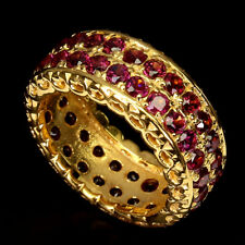 Unheated Round Rhodolite Garnet 14K Yellow Gold Plate 925 Sterling Silver Ring 6
