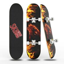 """Wood 31""""x8"""" Skateboards Complete Double Kick Deck Concave Wolf for Beginners"""