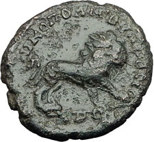 ELAGABALUS 218AD Nicopolis ad Istrum Roman Coin NEMEAN LION Leo Zodiac i65009
