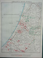 1918 WW1 MAP EGYPTIAN EXPEDITIONARY FORCE ~ ADVANCE INTO JUDEA 6pm 14 NOV 1917