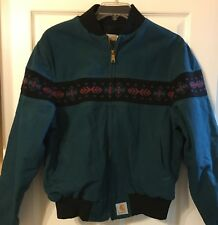 Vintage Carhartt Mens Teal Green Canvas Western Jacket Aztec Navajo Coat Large L