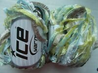 Fringe Lurex yarn by Ice Yarns, camel/light blue/yellow, lot of 2, (93 yds each)