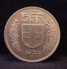 1953 Switzerland silver 5 francs, Wilhelm Tell, aUNC/UNC, KM-40 (SZ3)