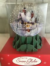 """3 Pop-Up Snow Globe Greetings Christmas """"Christmas Cottage"""" 3D Cards"""