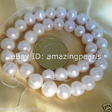 11-12mm White Off-Round Natural Freshwater Pearls Loose Gemstone Beads 15''