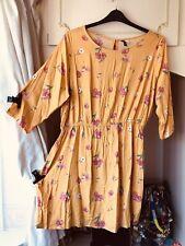 H&M - LADIES Yellow Pink Floral Tunic Dress Size 22/24 BNWOT