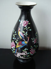 CROWN DUCAL VASE BLK CHINTZ BIRDS OF PARADISE ENGLAND A.G.R.& CO. LTD  PRE 1920