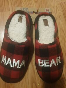 NEW Dearfoams Mama Bear Red Black Buffalo Plaid Women  Slippers,  XL 11/12