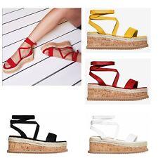 Womens Platform Flat Wedge Lace Tie Up Sandals Ladies Espadrille Summer Shoes