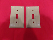 2 Vintage Eagle Tuxedo Ribbed Ivory Bakelite Switch Plate Cover Art Deco Classic