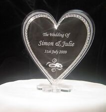 Crystal Personalised heart Anniversay or wedding cake toppers decorations