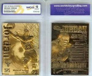 MICHAEL JORDAN 1997 SKYBOX Z-FORCE LIMITED EDITON WCG GEMMT 10 23KT GOLD CARD