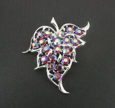Plate Leaf Brooch Pin Pendant Vintage Sarah Coventry Rhinestones Ab Silver