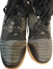 Gio Goi Mens Leather Black Grey Suede Boots Size 11 EU 45 Chunky