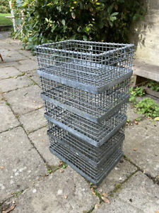 Set of 5 lovely Industrial Galvanised Stacking Wire Trays with handles