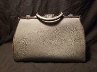 Antique Leather Doctor Bag Satchel Grey Genuine Pig Skin 16 09 W/Key VTG Medical
