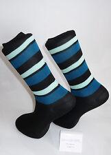 Light green, black & turquoise striped socks. Cotton Bend Socks